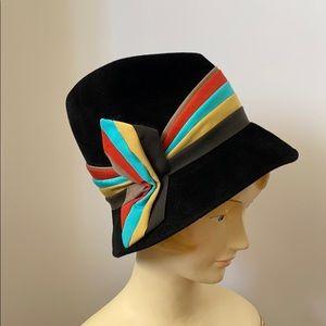 Vintage 60's Coronet Bucket Hat Ribbon Bow